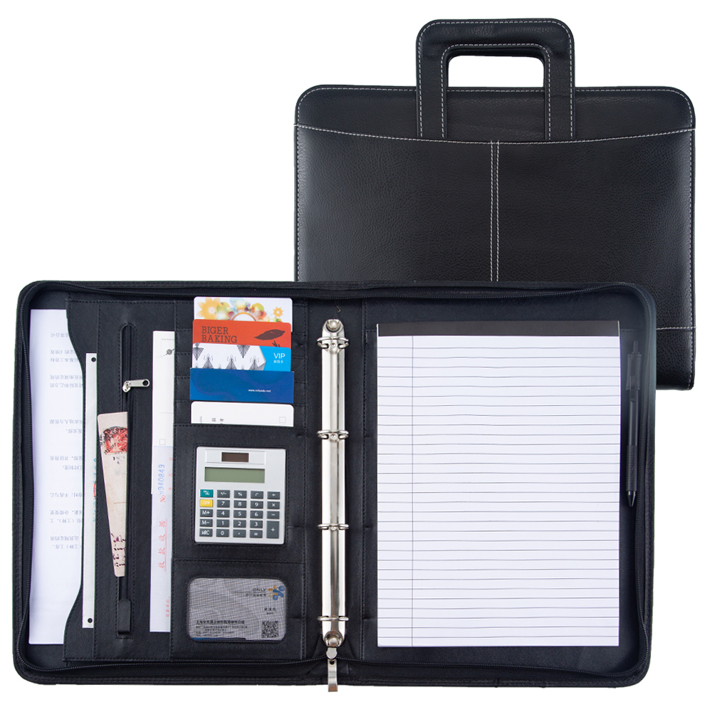 A4 Document File Folder PU Leather With Calculator Binder Handle Zipper Stationary Supply Business Padfolio Manager Folder Logo