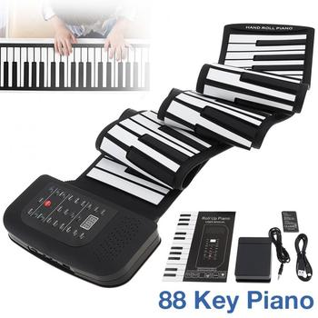 Electronic Organ 88 Keys Roll Up Rechargeable Silicone Flexible Keyboard Organ Built-in Speaker Support MIDI Bluetooth