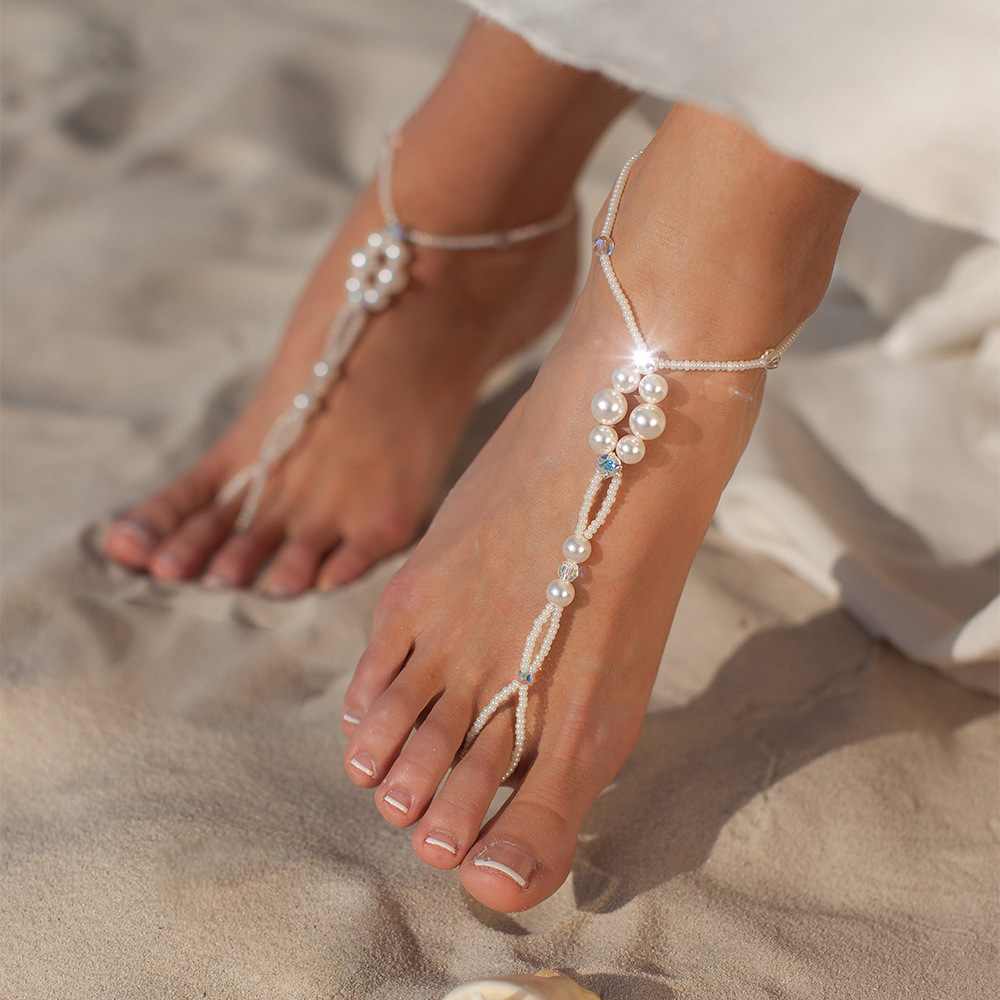Bohemia Imitation Pearl Beads Foot Anklet Fashion Beaded Toe Beach Barefoot Bracelets Women Girls Foot Jewelry Accessories Gifts
