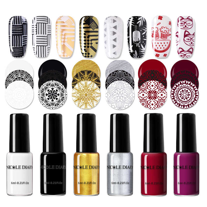 NICOLE journal Nail Art estampage vernis coloré noir blanc Nail Art plaque impression vernis vernis Nail Art décoration
