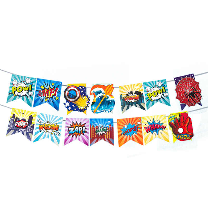 1Set HAPPY BIRTHDAY Superhero Theme Banners Spiderman Iron Man Baby Shower Flags Boy Birthday Party Banner Decorations Kids toys