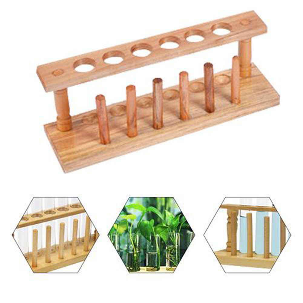 Wooden Test Tube Rack 6 Holes Holder Support Burette Stand Laboratory Test Tube Stand Shelf Lab School Supplies