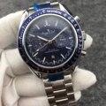 Nova Marca de luxo Homens Mecânicos Automáticos MoonWatch Velocidade de Aço Inoxidável Preto de Couro Azul Painel de Cerâmica Relógios AAA Lado Escuro
