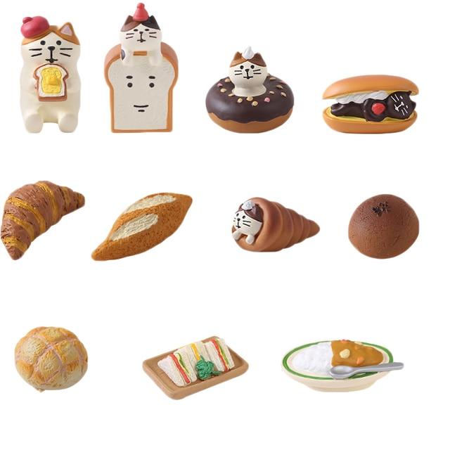 Japan Style Kawaii Cartoon Animals Cat Simulation Food Bread Resin Home Decoration Gifts Miniature Figurines Ornament Hogar 6