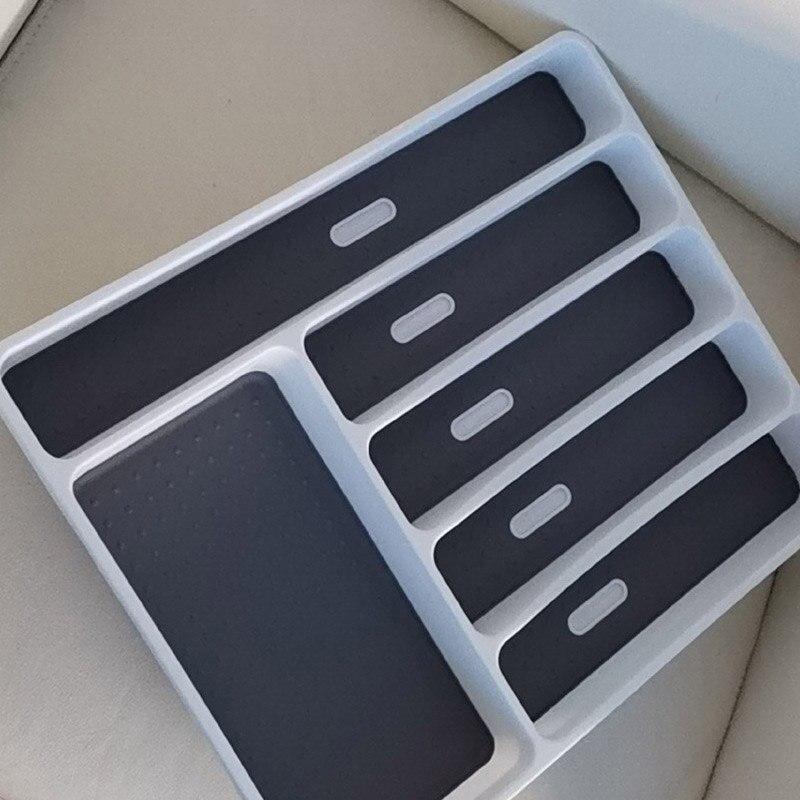 Organizador de cajones de cocina 1 Uds. Separación de estilo occidental gris PP/TPR bandeja de cubiertos accesorios de cocina 40*32*4,5 CM
