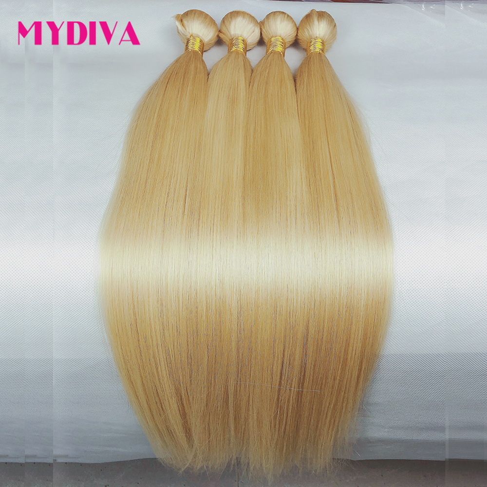 613 Blonde Hair Bundles Brazilian Hair Weave Bundles 100% Honey Blonde Straight Human Hair Extensions 30 32inch Remy Hair Mydiva