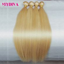 613 Blond Haar Bundels Braziliaanse Hair Weave Bundels 100% Honing Blond Straight Human Hair Extensions 30 32 Inch Remy Haar mydiva(China)