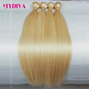 613 Blonde Hair Bundles Brazilian Hair Weave Bundles 100% Honey Blonde Straight Human Hair Extensions 30 32inch Remy Hair Mydiva(China)