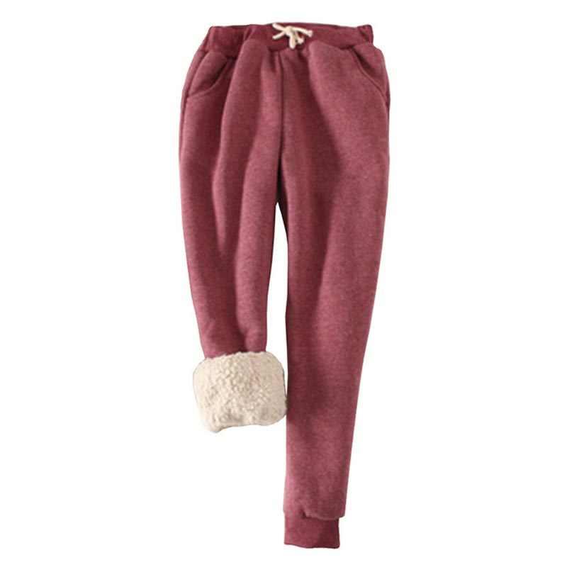 Artı boyutu 2XL kadın pantolon kış kalın kuzu derisi kaşmir pantolon sıcak kadın rahat pantolon gevşek Harlan pantolon uzun pantolon BG248