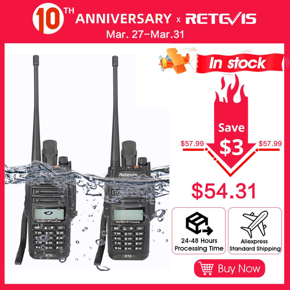 2pcs Retevis RT6 Walkie Talkie Dual Band VHF UHF Radio FM Radio IP67 Waterproof VOX SOS Alarm Professional Ham Radio Station