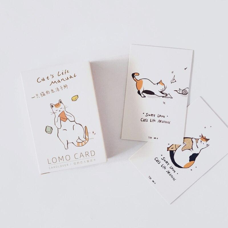 28 Sheets/Set Cat's Life Manual Lomo Card Cartoon Mini Postcard Birthday Letter Gift Card Message Card 52*80mm