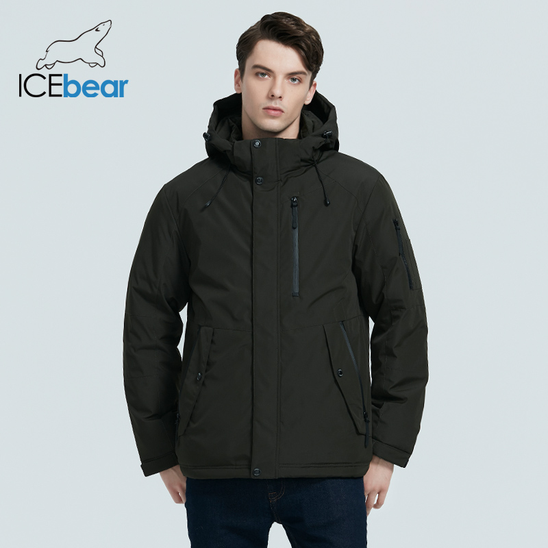 ICEbear 2020 autumn and winter new men's hooded coat warm men's cotton jacket fashion men's clothing MWD20853D 2