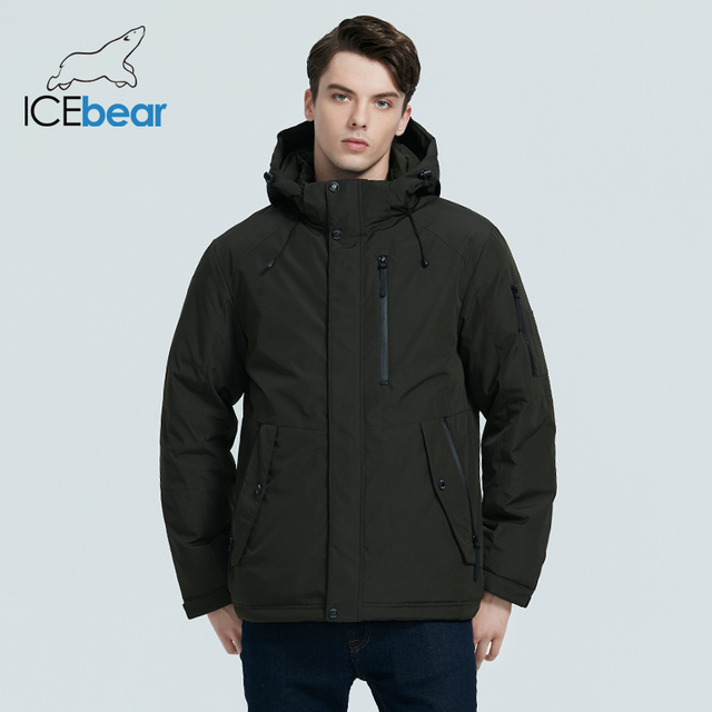 ICEbear 2020 autumn and winter new men's hooded coat warm men's cotton jacket fashion men's clothing MWD20853D 2