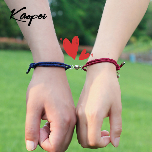 2pcsSet New Stainless Steel Couple Bracelet A Pair of Magnet Ball Hand Men and Women Gift Friendship Charms Rope Jewelry
