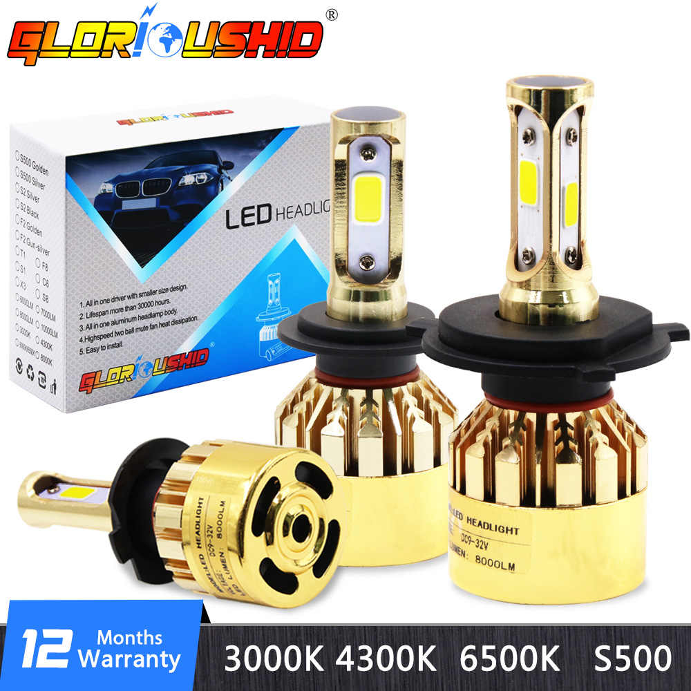 H7 LED Bulb H1 H4 H3 H11 Car Headlight Bulbs S500 Golden Chrome Luxury Version H9 HB3 HB4 881 Fog Light Bulb 6500k 72W 8000LM