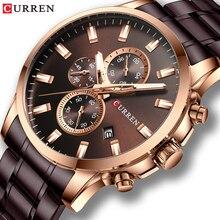 CURREN אופנה שעונים גברים קפה שעון גברים קוורץ שעוני יד נירוסטה בנד הכרונוגרף זכר שעון Relogio Masculino