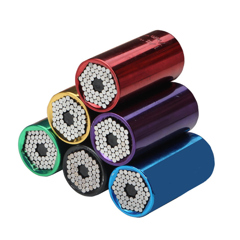 2 Pcs/Set Magic Spanner Grip Multi Function Universal Ratchet Socket 7-19mm Power Drill Adapter Car Hand Tools Repair Kit