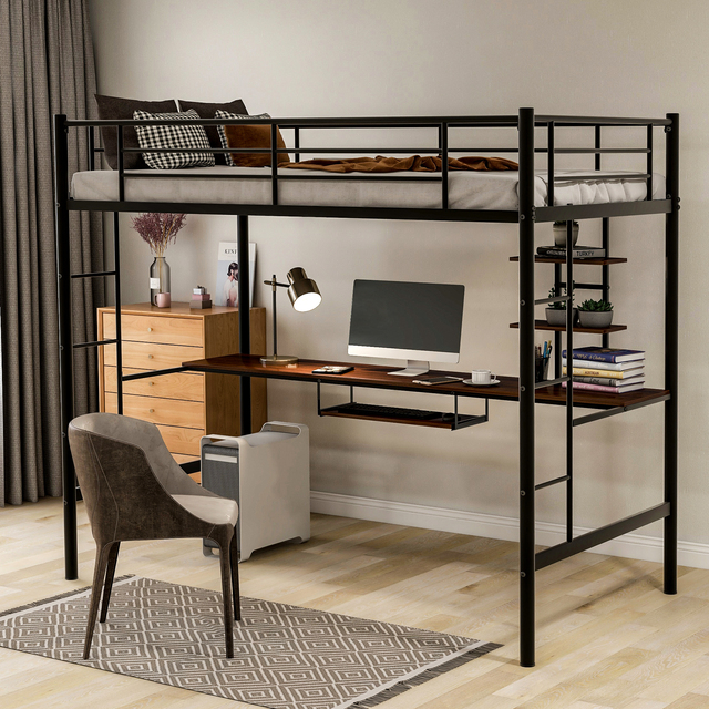 Metal Loft bed with Desk and Shelves 1