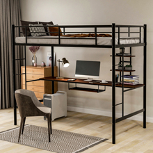 Metal Loft bed with Desk and Shelves,Space-Saving Bed Frame Twin Size Platform Bed For Kids Teens Adults,Black,2-8 Days Delivery
