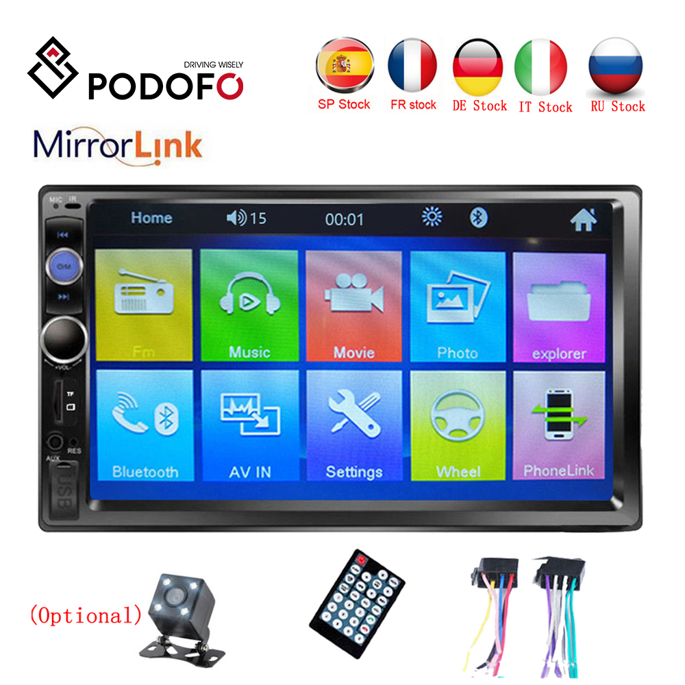 Podofo Autoradio 2 din Car Radio 7 HD Touch Screen Multimedia MP5 Player 2DIN Auto audio Car Stereo Bluetooth USB TF FM Camera image