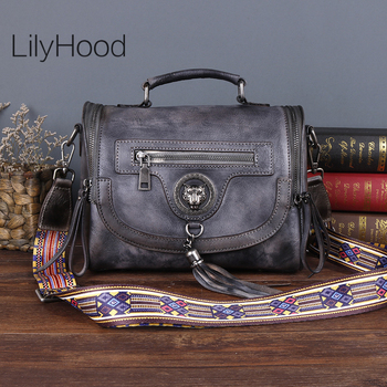 First Layer Cow Leather Messenger Bag Women Small Vintage Brushed-off Natural Leather Handbag Female Genuine Leather Shouder Bag