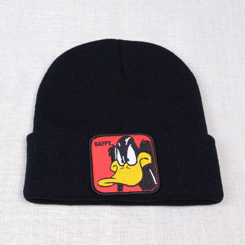 Looney Tunes Daffy Duck 'Daffy Face' Beanie Men Warm Winter Women Knitted Hats Cartoon Unisex Hip Hop Beanies Cap