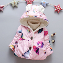Girls warm coats winter kids fashion cotton think velvet down parkas for baby girls children birthday clothes outerwear jackets