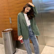 Korean Casual Ladies Blazer Vintage Solid Green Loose Suit Jacket Veste Blazer Stylish Women Blazer Spring Autumn New MM60NXZ