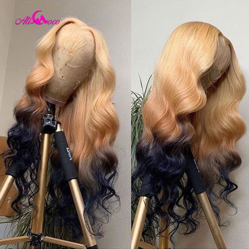 ALI Coco 150% 613/4/1B Human Hair Wig Brazilian Remy Body Wave Lace Front Wig Green Red Light Blue Ombre 613 Wigs For Women