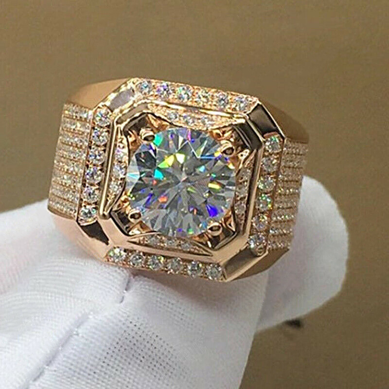 FDLK    Luxurious Men's Rose Gold Natural Birthstone Crystal Ring Boyfriend Anniversary Gift Banquet Engagement Wedding Band