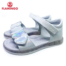 FLAMINGO 2021 Summer kids sandalen Hook& Loop Flat Arched Design Chlid Casual Princess Shoes Size 27-32For Girls 211S-Z6-2333