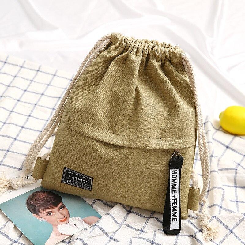 1PC New Fashion Canvas School Bags Drawstring Backpack Bag Portable Casual String Knapsack for Women Men Mochila Saco BackpacK