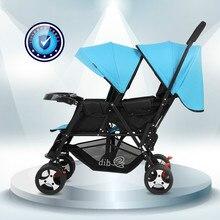 Коляска для малышей-близнецов двойная легкая коляска складная Передняя и задняя откидная детская коляска Babyfond
