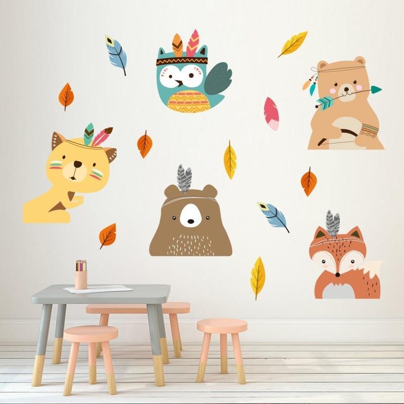 Vacclo Indian Style Animal Fox DIY Wall Sticker Children Room Bedroom Mural Decals PVC Kindergarten Home Decoration Wallpaper(China)