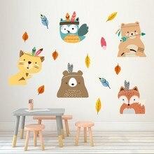 цена на Vacclo Indian Style Animal Fox DIY Wall Sticker Children Room Bedroom Mural Decals PVC Kindergarten Home Decoration Wallpaper