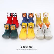 Unisex buty buciki dziecięce buciki dziecięce buciki dziecięce miękkie gumowe podeszwy dzianinowe buciki-slip tanie tanio CN (pochodzenie) Cotton Fabric Płytkie Wiosna jesień Slip-on Stałe RUBBER Pasuje prawda na wymiar weź swój normalny rozmiar