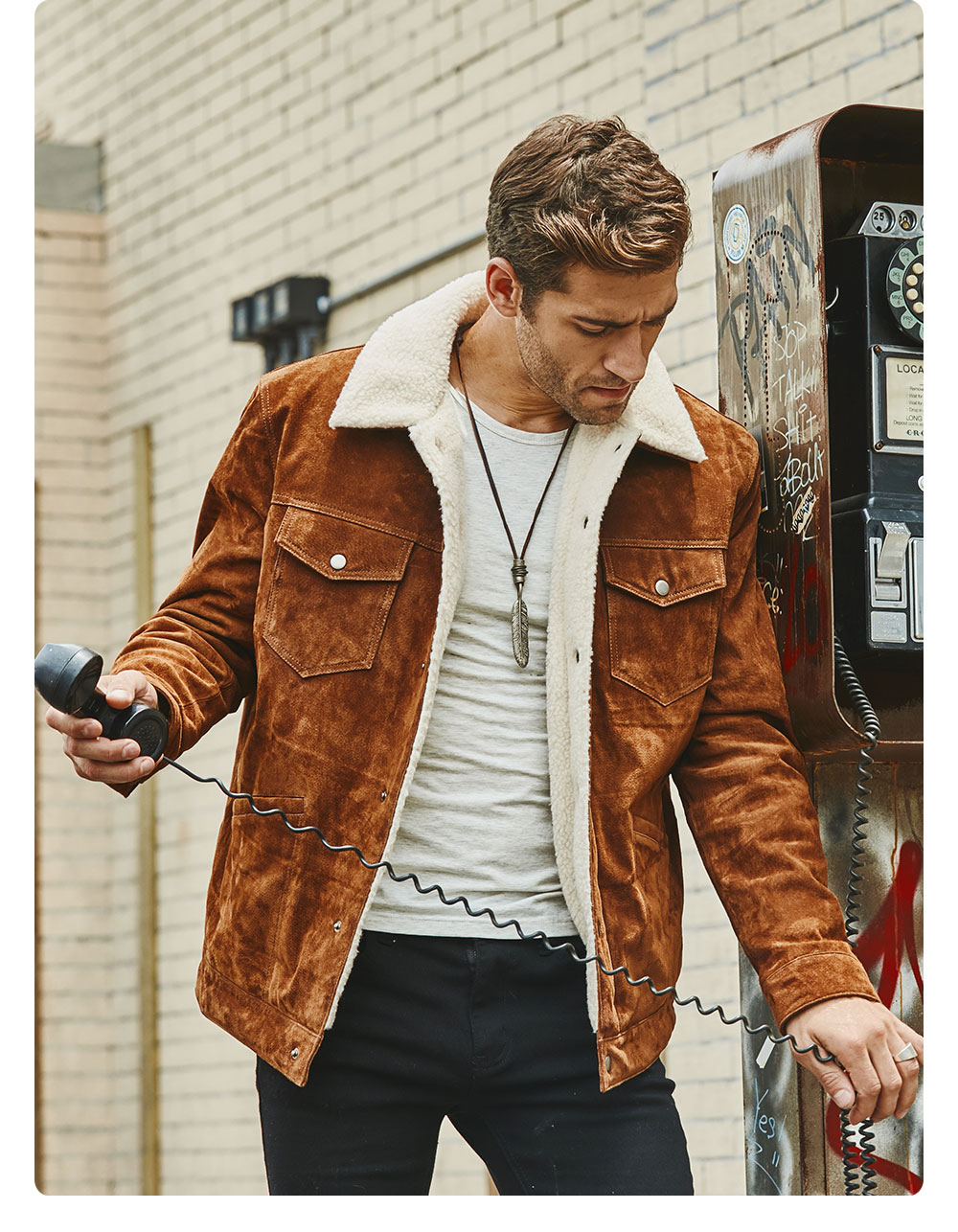 H63bb8328741740cfb28be009fcd3447al FLAVOR New Men's Real Leather Jacket Genuine Leather With Faux Shearling Warm Coat Men