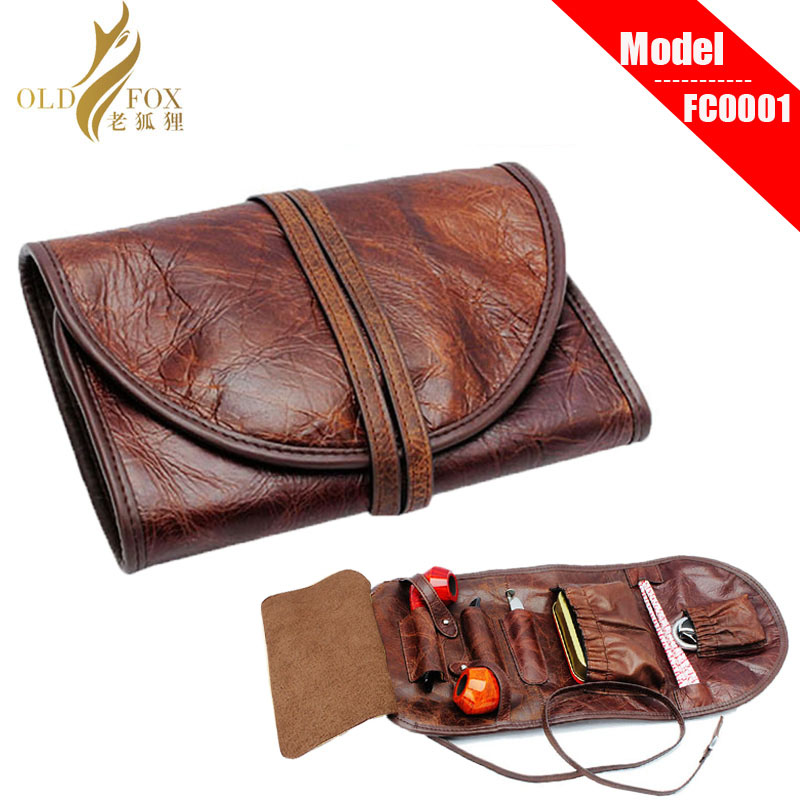 OLDFOX Good Durable Portable Litchi PU Leather Pipe Pouch/Case/Bag For 2 Smoking Pipes With Little Bag Inside Fc0001-fc0056