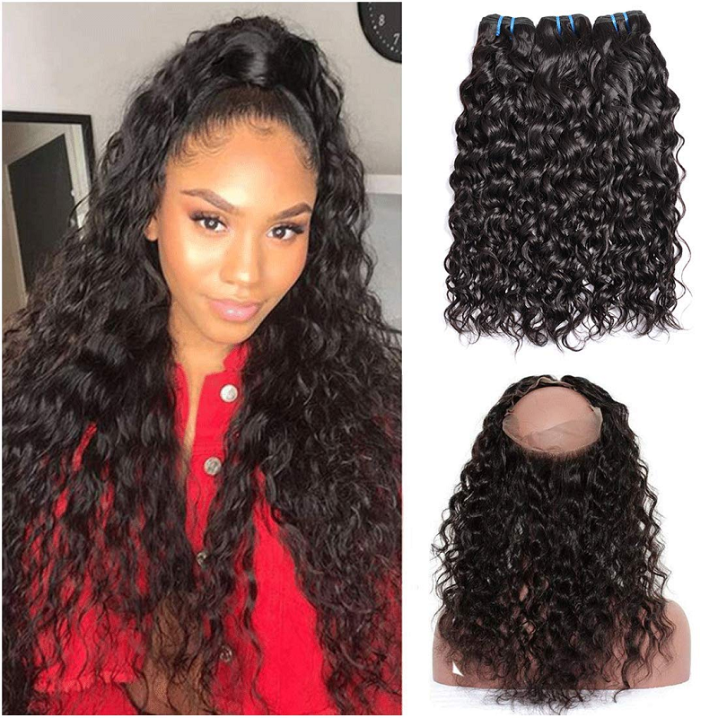 360 Lace Frontal Closure Brazilian Water Wave 150% Remy Hair Frontal Pre Plucked Free Part For Women With Baby Hair In Stock