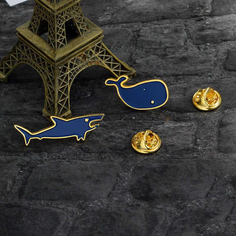 Berselancar Enamel Gila Biru Ikan Paus Bros Lencana Denim Kemeja Kerah Pin Kartun Lucu Perhiasan Hadiah untuk Anak-anak