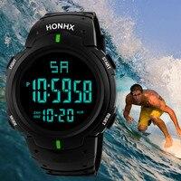 Reloj de pulsera deportivo para hombre, cronómetro Digital Lcd resistente al agua, con fecha, de goma, multifunción, 2021