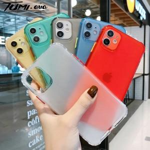 Capa de celular colorida de silicone, capa macia e à prova de choque para iphone se 2020 11 pro max, capas de silicone transparente para iphone xs max xr capa x 7 8 6s 6 plus
