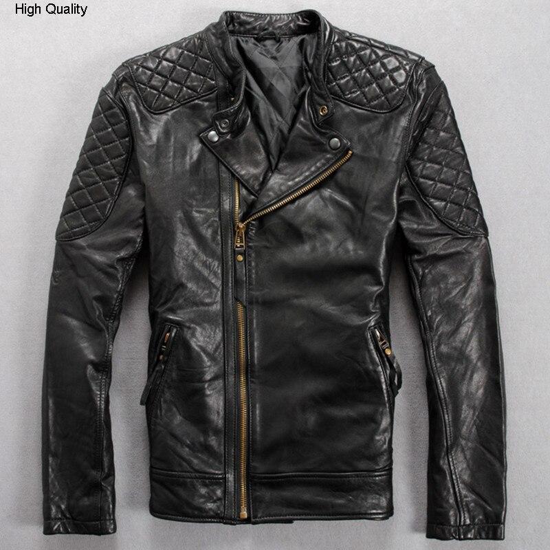 Solid Black Genuine Leather Jacket Men Slim Fit Brown Sheepskin Leather Coat Men Thin Leather Wind Jacket Men Korean Style