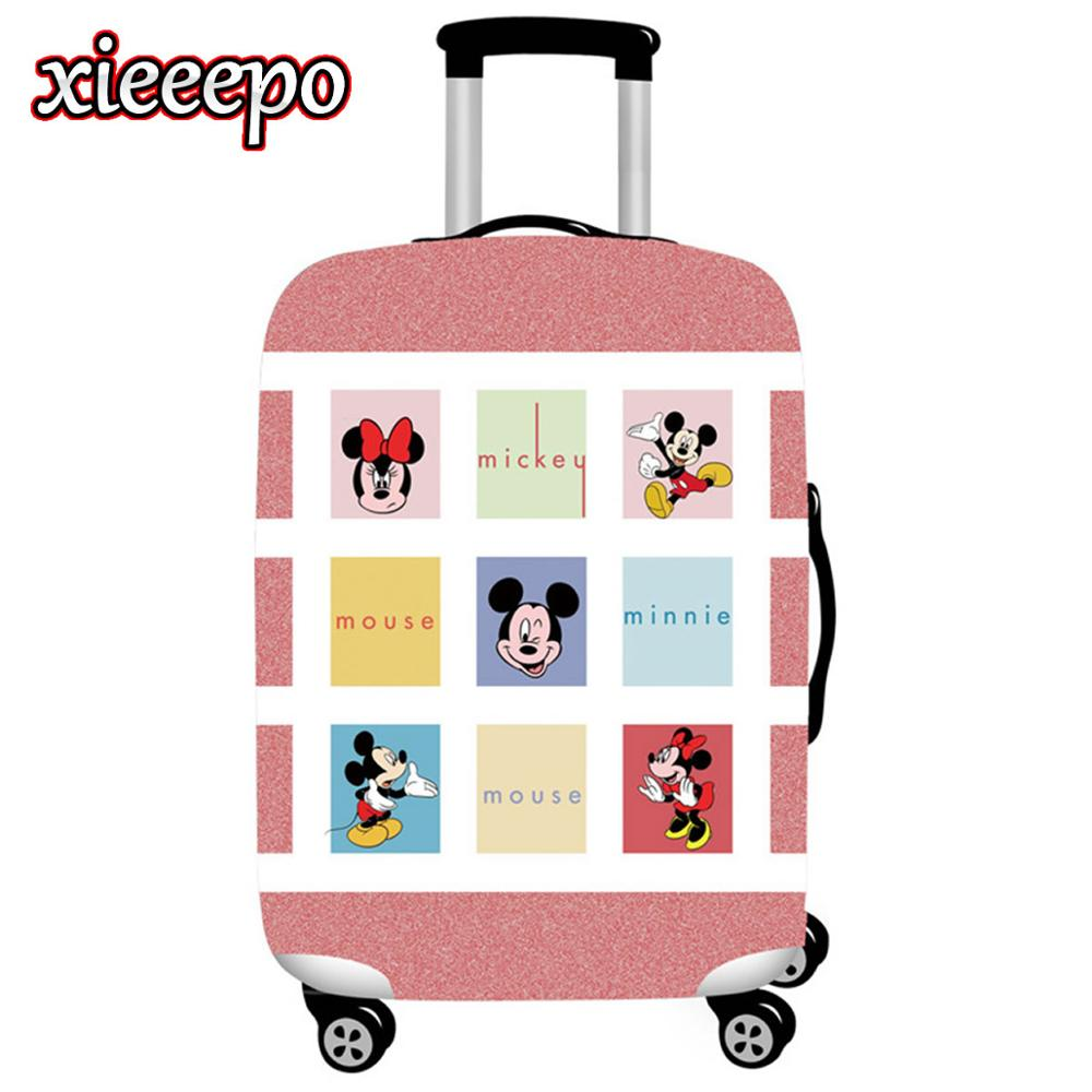 3D Kawaii Mickey Luggage Cover Protective Case Thicken Waterproof Elastic Minnie Suitcase Cover For 18-32 Inch Travel Accessorie