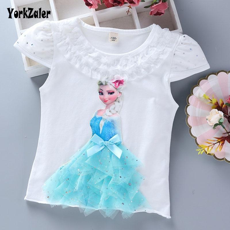 Yorkzaler New Fashion Summer Kids T-shirt For Girl Lace Cartoon Elsa Princess Tee Short Sleeve Children Clothing Size 3T-9T