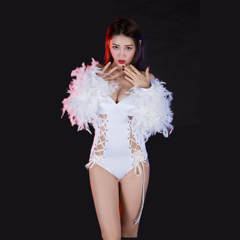 Performance costume singer's nightclub DS bar DJ performance costume atmospheric feather white bandage one piece dance suit