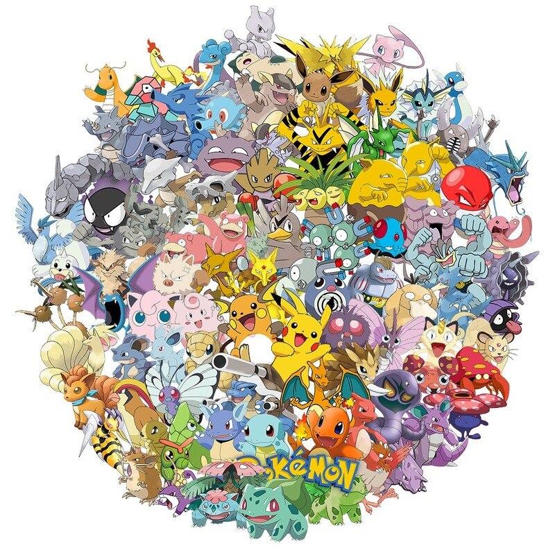 100pcs-cartoon-font-b-pokemon-b-font-pikachu-children-doodle-luggage-skateboard-sticker-kids-toy-gift
