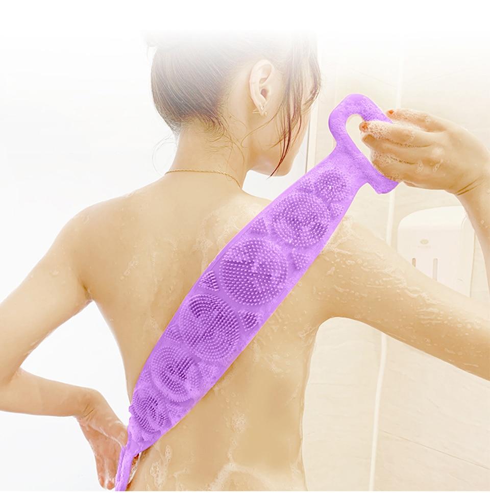 Silicone Gel Scrub Bath Brush Strip Massage Back Rubs Bathing Tape Long Back Rubbing Sided Silicone Scrub Body Skin Bathroom 2