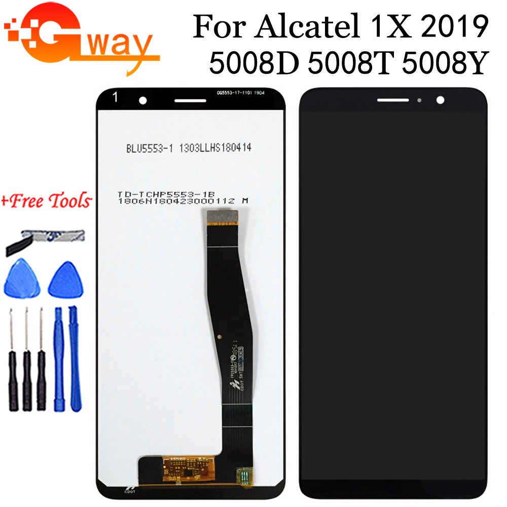 LCD Screen and Digitizer Full Assembly for Alcatel 1x Color : Black 5008 Premium Quality 2019 Black