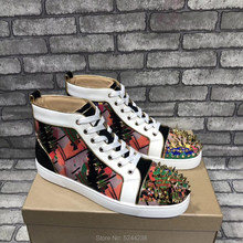 High Top Handmade Color graffiti Leather Messy Rivets Top Cap Shoes party Prom Men Loafers Red bottom casual loafers shoes(China)